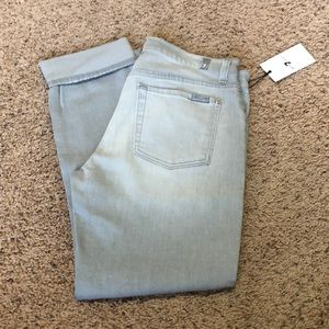7 For All Mankind NWT light gray skinny jeans
